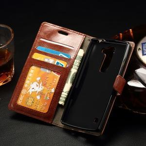 Peněženkové PU kožené pouzdro na LG Spirit - hnědé - 4