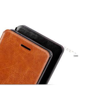 Vintage PU kožené pouzdro s kovovou výstuhou na Meizu MX5 -  hnědé - 4