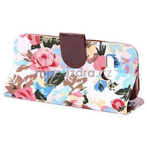 Květinové peněženkové pouzdro na HTC One Mini 2 - bílé - 4