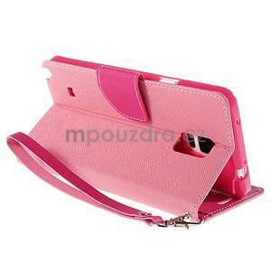 Stylové peněženkové pouzdro na Samsnug Galaxy Note 4 - růžové - 4