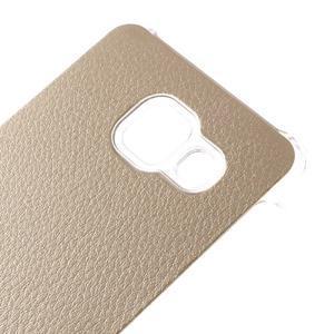 Plastový obal s koženkovým plátem na Samsung Galaxy A3 (2016) - zlatý - 4