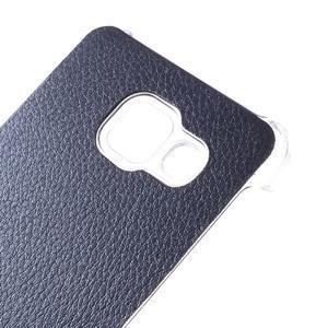 Plastový obal s koženkovým plátem na Samsung Galaxy A3 (2016) - tmavěmodrý - 4