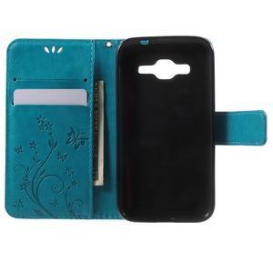 Butterfly PU kožené pouzdro na Samsung Galaxy Core Prime - modré - 4