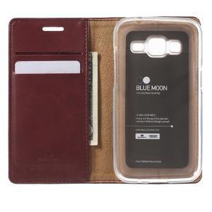 Moon PU kožené pouzdro na mobil Samsung Galaxy Core Prime - vínové - 4