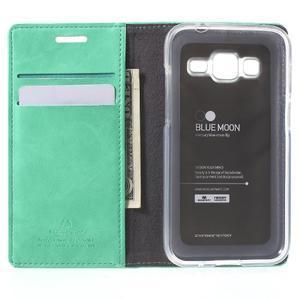 Moon PU kožené pouzdro na mobil Samsung Galaxy Core Prime - azurové - 4