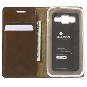 Moon PU kožené pouzdro na mobil Samsung Galaxy Core Prime - hnědé - 4