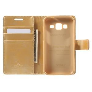 Moonleather PU kožené pouzdro na Samsung Galaxy Core Prime - zlaté - 4