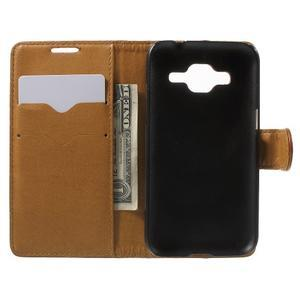 Horse PU kožené pouzdro na mobil Samsung Galaxy Core Prime - hnědé - 4