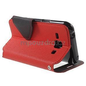 PU kožené pouzdro s okýnkem Samsung Galaxy J1 - červené/černé - 4