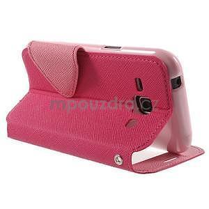 PU kožené pouzdro s okýnkem Samsung Galaxy J1 - rose/růžové - 4