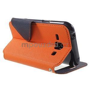 PU kožené pouzdro s okýnkem Samsung Galaxy J1 - oranžové/tmavě modré - 4