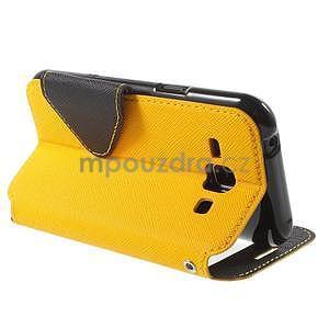 PU kožené pouzdro s okýnkem Samsung Galaxy J1 - žluté/černé - 4