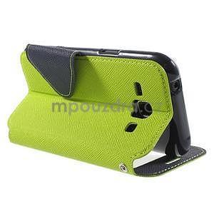 PU kožené pouzdro s okýnkem Samsung Galaxy J1 - zelené/tmavě modré - 4