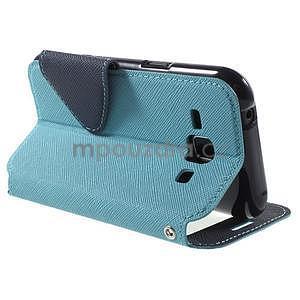 PU kožené pouzdro s okýnkem Samsung Galaxy J1 - světle modré/tmavě modré - 4