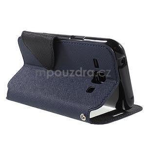 PU kožené pouzdro s okýnkem Samsung Galaxy J1 - tmavě modré/černé - 4