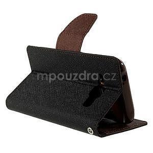 Černé/hnědé PU kožené pouzdro na Samsung Galaxy J1 - 4