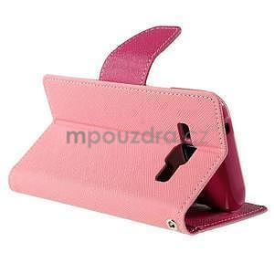 Růžové/rose PU kožené pouzdro na Samsung Galaxy J1 - 4