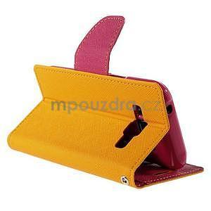 Žluté/rose PU kožené pouzdro na Samsung Galaxy J1 - 4
