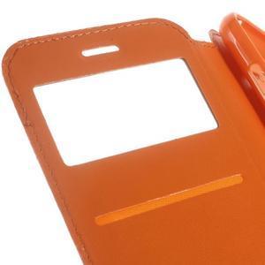 Peněženkové PU kožené pouzdro s okýnkem na Samsung Galaxy J3 (2016) - oranžové - 4