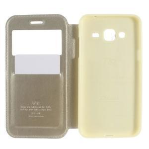 Peněženkové PU kožené pouzdro s okýnkem na Samsung Galaxy J3 (2016) - zlaté - 4