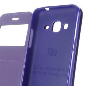 Peněženkové PU kožené pouzdro s okýnkem na Samsung Galaxy J3 (2016) - tmavěmodré - 4