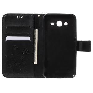Butterfly PU kožené pouzdro na Samsung Galaxy J5 - černé - 4