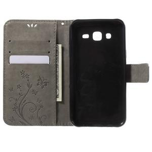 Butterfly PU kožené pouzdro na Samsung Galaxy J5 - šedé - 4