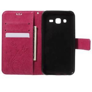 Butterfly PU kožené pouzdro na Samsung Galaxy J5 - rose - 4