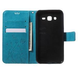 Butterfly PU kožené pouzdro na Samsung Galaxy J5 - modré - 4