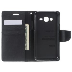 Luxury textilní/pu kožené pouzdro na Samsung Galaxy J5 - černé - 4