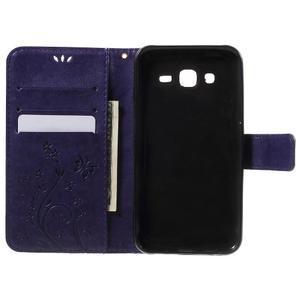 Butterfly PU kožené pouzdro na Samsung Galaxy J5 - fialové - 4