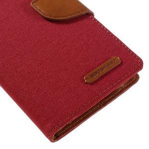 Canvas PU kožené/textilní pouzdro na Samsung Galaxy J5 (2016) - červené - 4