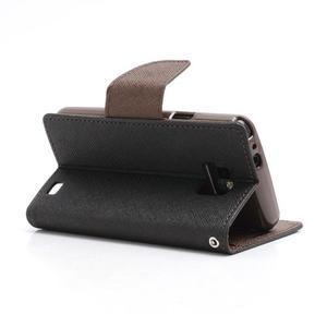 Diary PU kožené pouzdro na mobil Samsung Galaxy S2 - černé/hnědé - 4