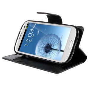 Diary PU kožené pouzdro na mobil Samsung Galaxy S3 - černé - 4