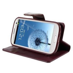 Diary PU kožené pouzdro na mobil Samsung Galaxy S3 - vínové - 4