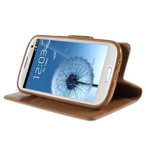 Diary PU kožené pouzdro na mobil Samsung Galaxy S3 - hnědé - 4