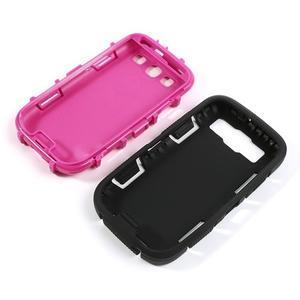 Odolné silikonové pouzdro na mobil Samsung Galaxy S3 - černé/rose - 4