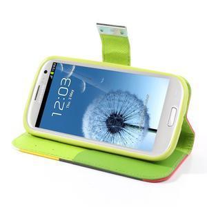 Tricolors PU kožené pouzdro na mobil Samsung Galaxy S3 - černý střed II - 4