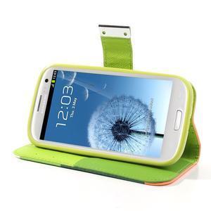 Tricolors PU kožené pouzdro na mobil Samsung Galaxy S3 - zelený střed - 4