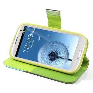 Tricolors PU kožené pouzdro na mobil Samsung Galaxy S3 - tmavězelený střed - 4
