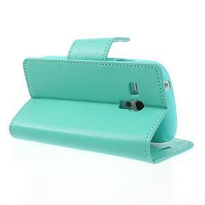 Diary PU kožené pouzdro na Samsung Galaxy S3 mini - azurové - 4