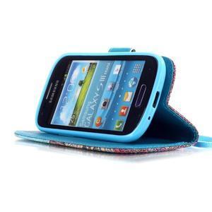 Knížkové PU kožené pouzdro na Samsung Galaxy S3 mini - barevné květy - 4