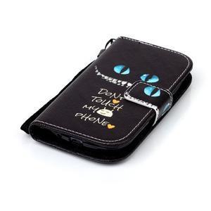 Knížkové PU kožené pouzdro na Samsung Galaxy S3 mini - nedotýkat se - 4