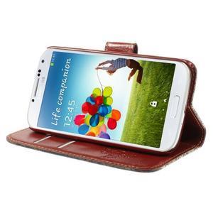 Elegant peněženkové pouzdro na Samsung Galaxy S4 - retro květina - 4