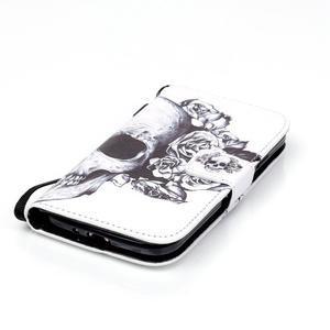 Knížkové koženkové pouzdro na Samsung Galaxy S4 - lebka - 4