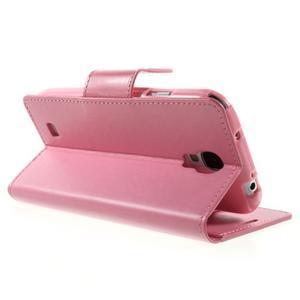 Diary PU kožené pouzdro na mobil Samsung Galaxy S4 - růžové - 4