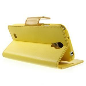 Diary PU kožené pouzdro na mobil Samsung Galaxy S4 - žluté - 4
