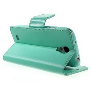 Diary PU kožené pouzdro na mobil Samsung Galaxy S4 - azurové - 4