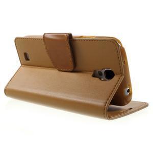 Diary PU kožené pouzdro na mobil Samsung Galaxy S4 - hnědé - 4