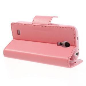 Sonata PU kožené pouzdro na mobil Samsung Galaxy S4 mini - růžové - 4